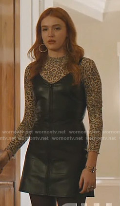 Kirby's leopard top and leather zip-front dress on Dynasty