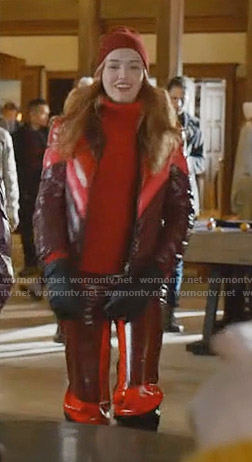 Kirby's burgundy puffer jacket and pants on Dynasty