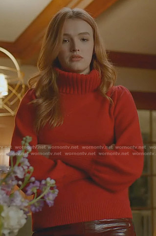 Kirby's red turtleneck sweater on Dynasty