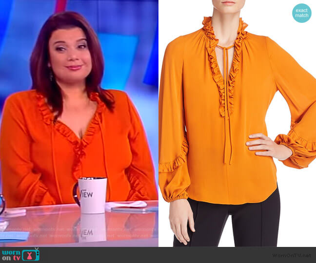 Angie Ruffled Blouse by Kobi Halperin worn by Ana Navarro on The View