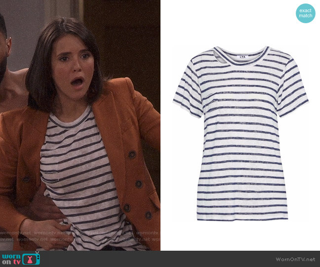 Iles Cutout Striped T-shirt by LNA worn by Clem (Nina Dobrev) on Fam
