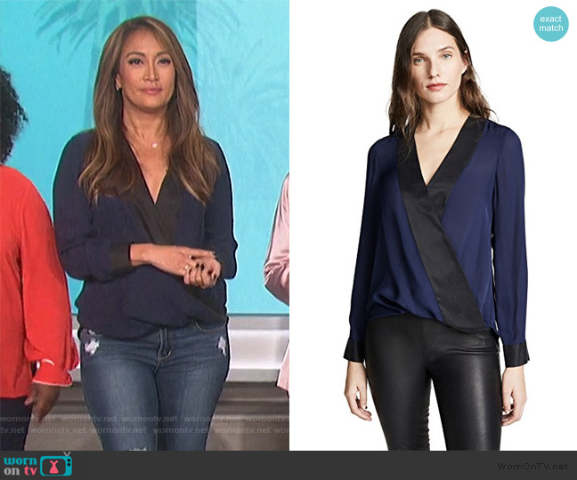 Two-tone Wrap Blouse by L'Agence worn by Carrie Inaba  on The Talk