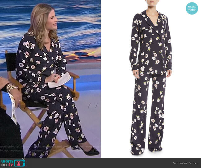 Double-Breasted Floral-Print Blouse and Maggie Pants by Lela Rose worn by Jenna Bush Hager  on Today