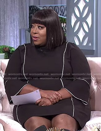 Loni's black bell sleeve dress on The Real