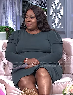 Loni's green puff sleeve dress on The Real