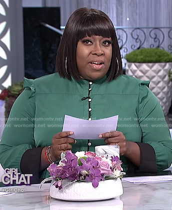 Loni's green ruffled button front dress on The Real
