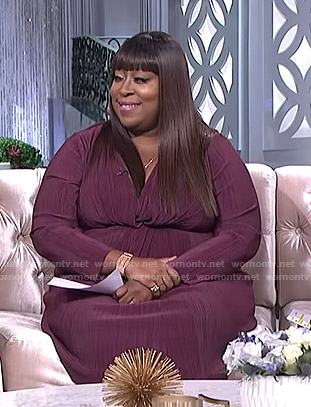 Loni's purple twisted front dress on The Real