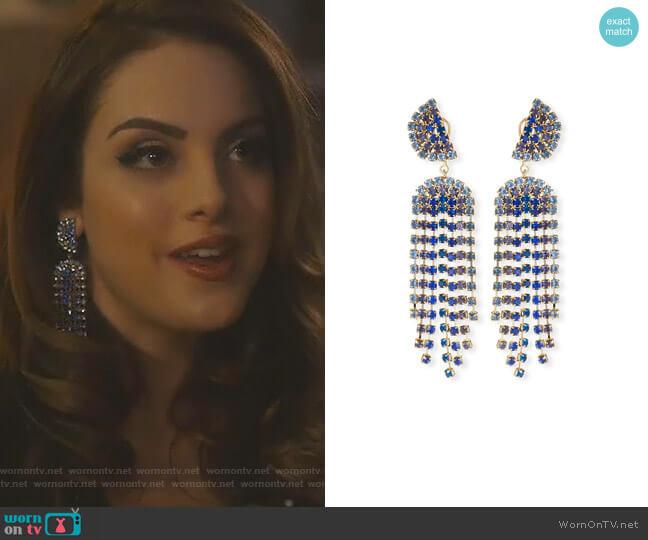 Synth Dangle Earrings by Lulu Frost worn by Fallon Carrington (Elizabeth Gillies) on Dynasty