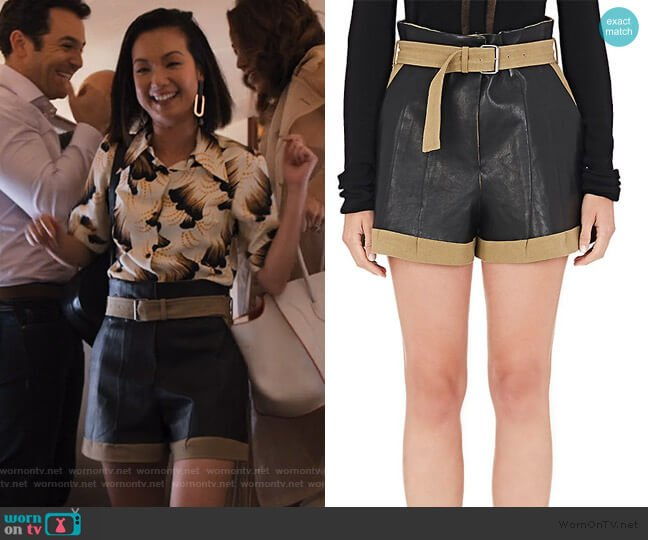 Leather-Appliquéd Linen-Cotton Shorts by Maison Margiela worn by Marianne (Jae Suh Park) on Friends from College