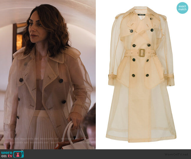 Organza trench coat by Maison Margiela worn by Samantha Delmonico (Annie Parisse) on Friends from College