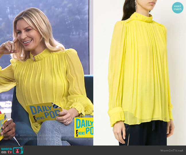 Pleated Lightweight Blouse by Manning Cartell worn by Morgan Stewart on E! News