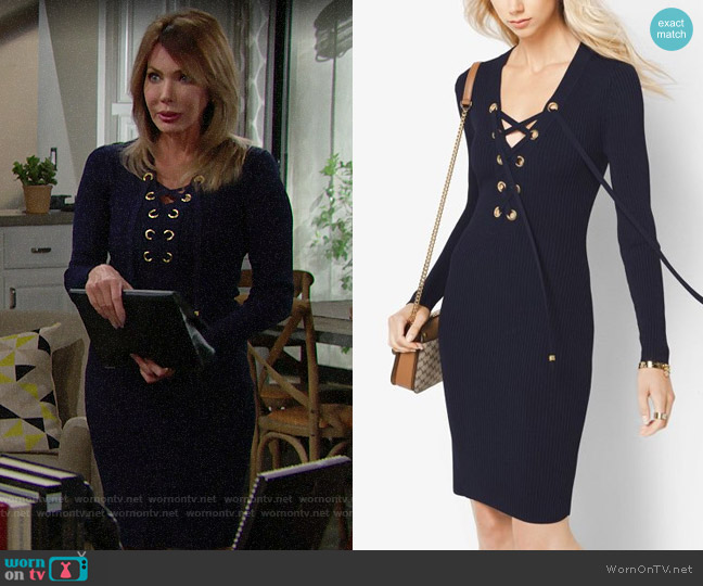 MICHAEL Michael Kors Lace-Up Ribbed Dress worn by Hunter Tylo on The Bold & the Beautiful