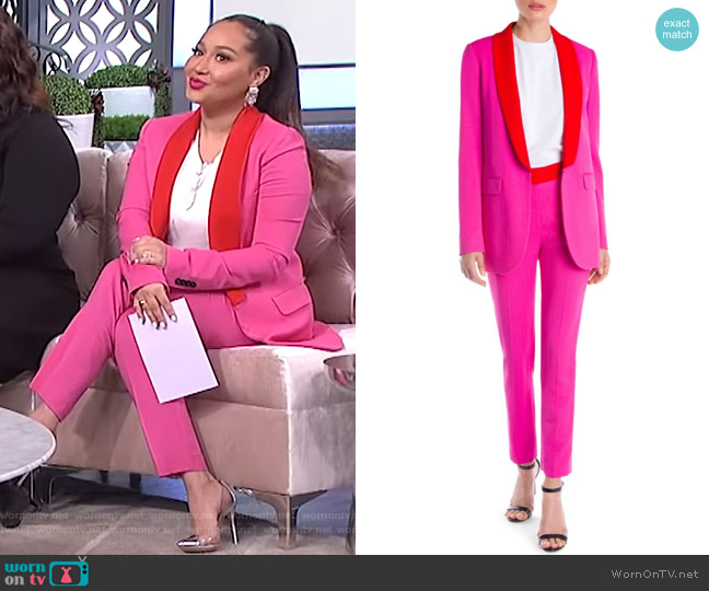 Contrast Lapel Blazer and Trousers by MSGM worn by Adrienne Houghton  on The Real