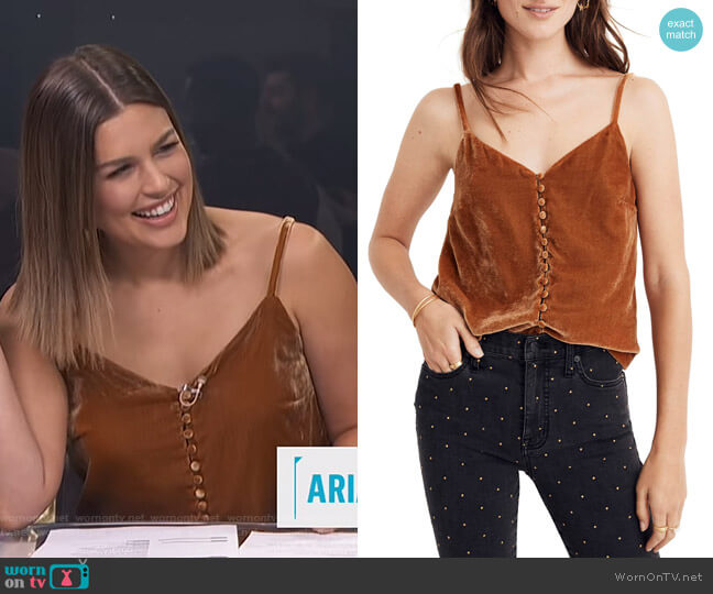 Button Down Velvet Camisole by Madewell worn by Carissa Loethen Culiner  on E! News