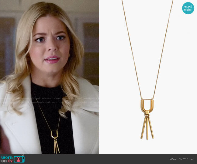 Madewell Curvelink Pendant Necklace worn by Alison DiLaurentis (Sasha Pieterse) on PLL The Perfectionists