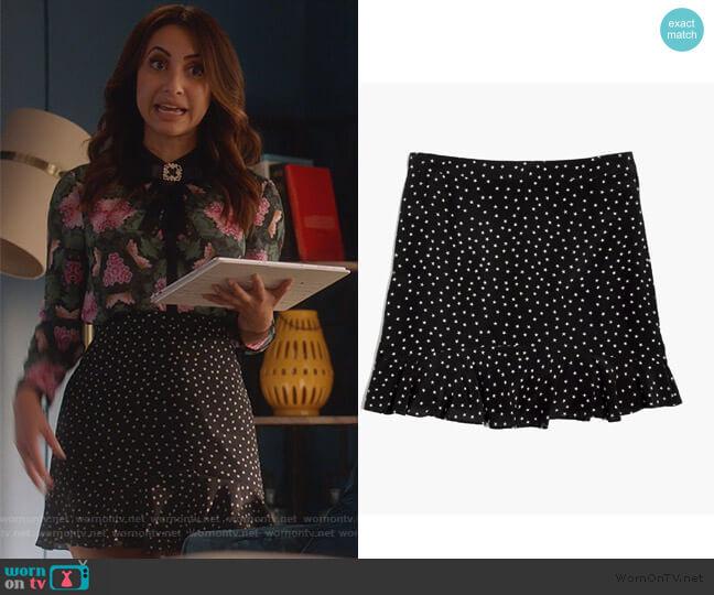 Silk Ruffle Edge Star Scatter Skirt by Madewell worn by Ana Torres (Francia Raisa) on Grown-ish