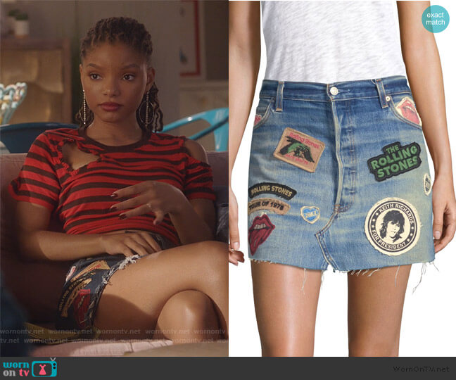 Rolling Stones Denim Mini Skirt by Madeworn worn by Skylar Forster (Halle Bailey) on Grown-ish