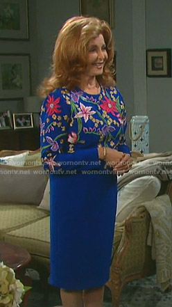 Maggie's blue floral embroidered dress on Days of our Lives