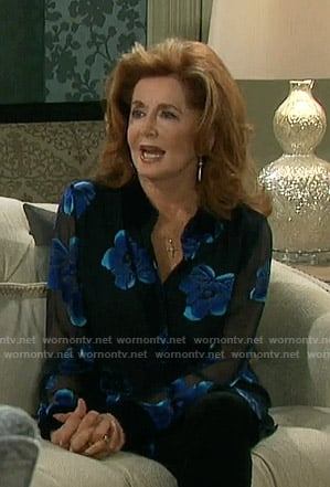 Maggie's floral sheer blouse on Days of our Lives