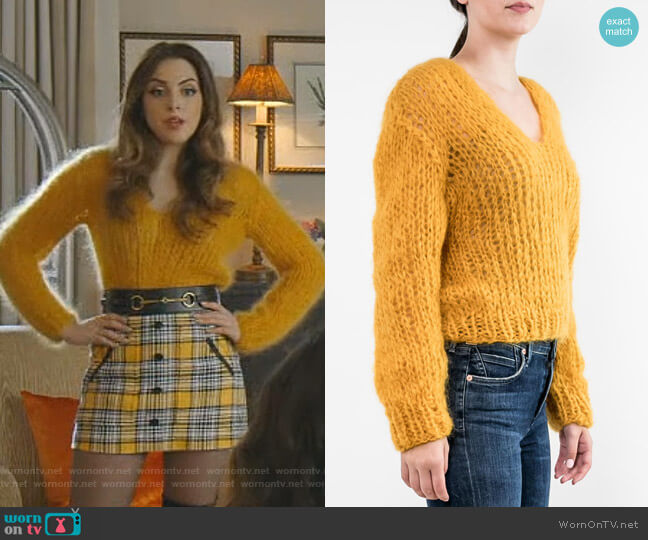 Mohair V Neck Sweater by Maiami worn by Fallon Carrington (Elizabeth Gillies) on Dynasty