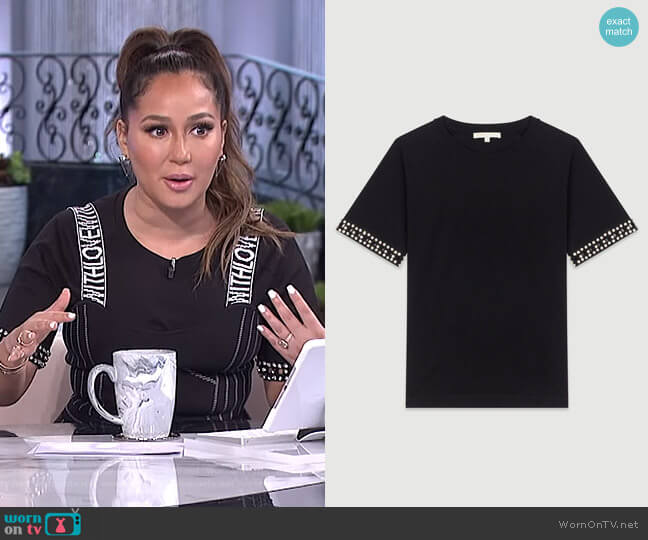 Open-Work T-Shirt with Rhinestone by Maje worn by Adrienne Houghton  on The Real