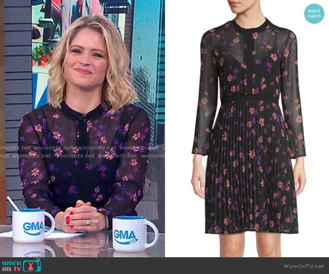 Printed Pleated Dress by Maje worn by Sara Haines  on Good Morning America