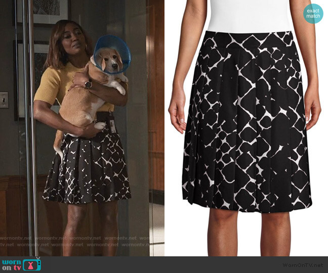 Silk Pebble Print Pleated A-line Skirt by Marc Jacobs worn by Daisy Grant (Patina Miller) on Madam Secretary