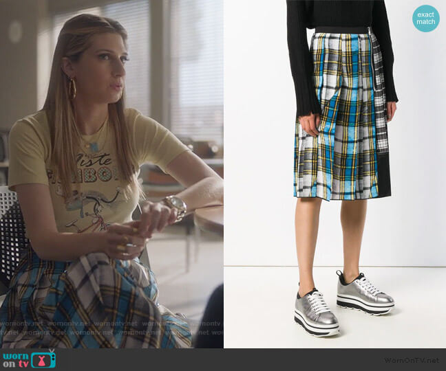 Plaid Midi Skirt by Marc Jacobs worn by Nomi Segal (Emily Arlook) on Grown-ish
