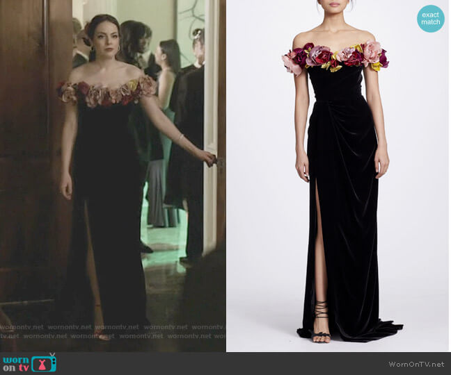 Floral-Appliquéd Off-The-Shoulder Velvet Gown by Marchesa worn by Fallon Carrington (Elizabeth Gillies) on Dynasty