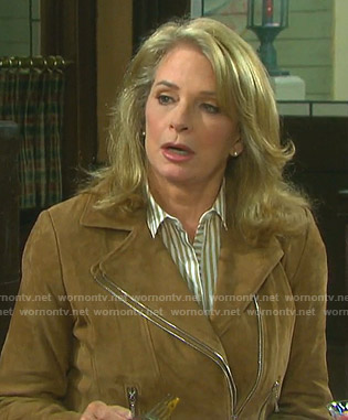 Marlena's striped blouse and suede moto jacket on Days of our Lives