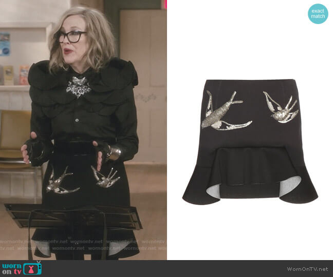 Embellished Neoprene Miniskirt by Marni worn by Moira Rose (Catherine O'Hara) on Schitts Creek
