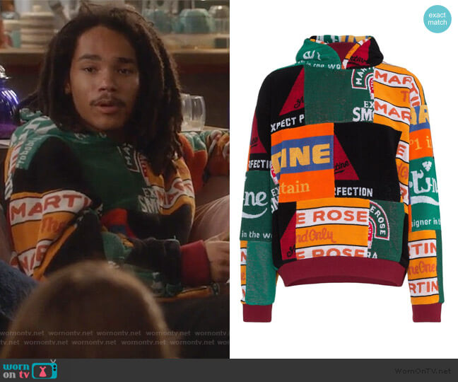 Beermat Towelling Hoodie by Martine Rose worn by Luka Hall (Luka Sabbat) on Grown-ish