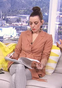 Melanie's orange tie waist wrap blazer on Live from E!