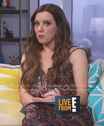Melanie's paisley print jumpsuit on Live from E!