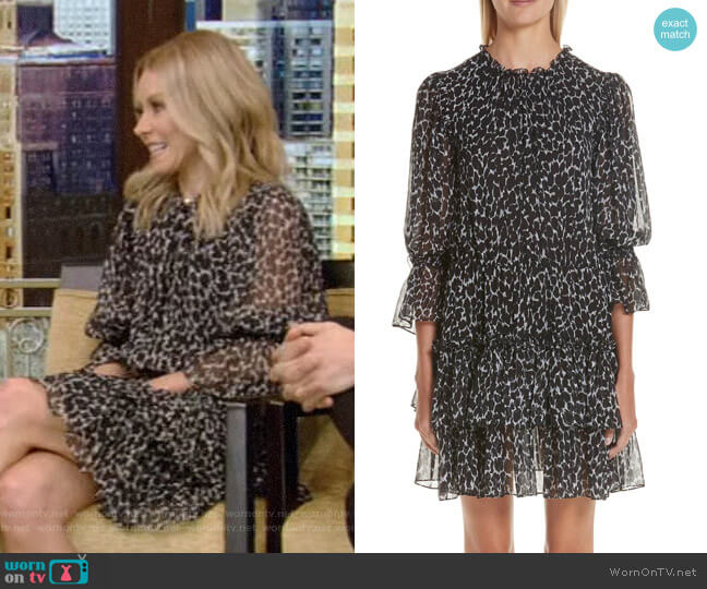Cheetah Print Tiered Silk Chiffon Minidress by Michael Kors worn by Kelly Ripa  on Live with Kelly & Ryan