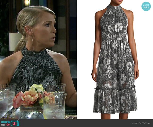 Metallic-Knit Tiered Midi Dress by MICHAEL Michael Kors worn by Jennifer Horton (Melissa Reeves) on Days of our Lives
