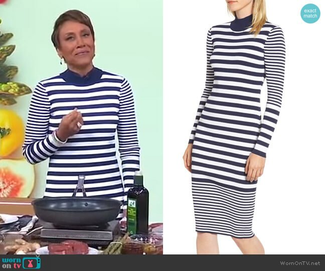 Ribbed Mock Neck Midi Dress by MICHAEL Michael Kors worn by Robin Roberts (Robin Roberts) on Good Morning America