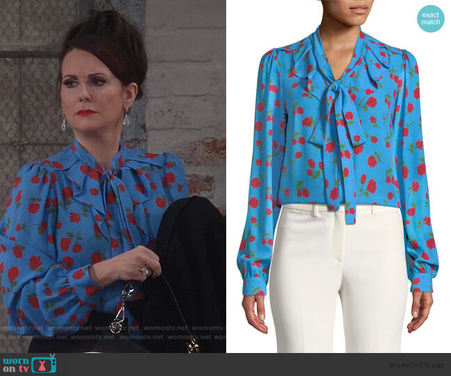 Tie-Neck Scattered Rose-Print Silk Georgette Blouse by Michael Kors worn by Karen Walker (Megan Mullally) on Will & Grace