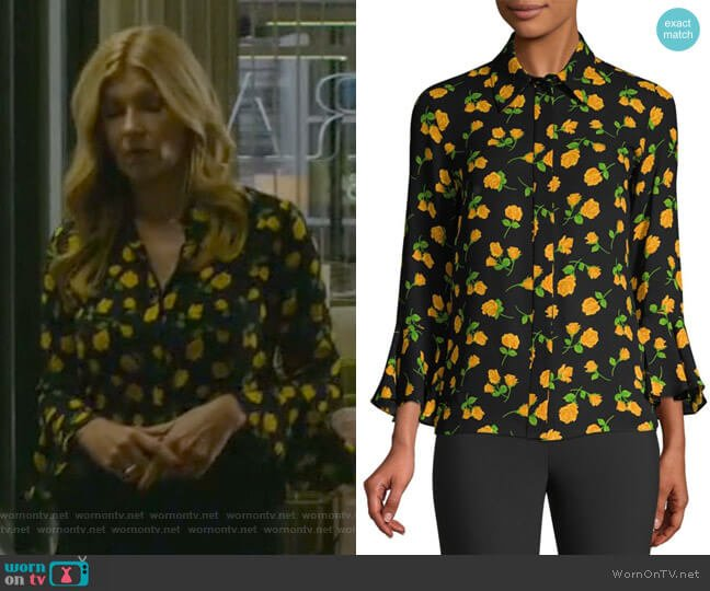 Scattered Roses Silk Flare-Sleeve Blouse by Michael Kors Collection worn by Debra Newell (Connie Britton) on Dirty John