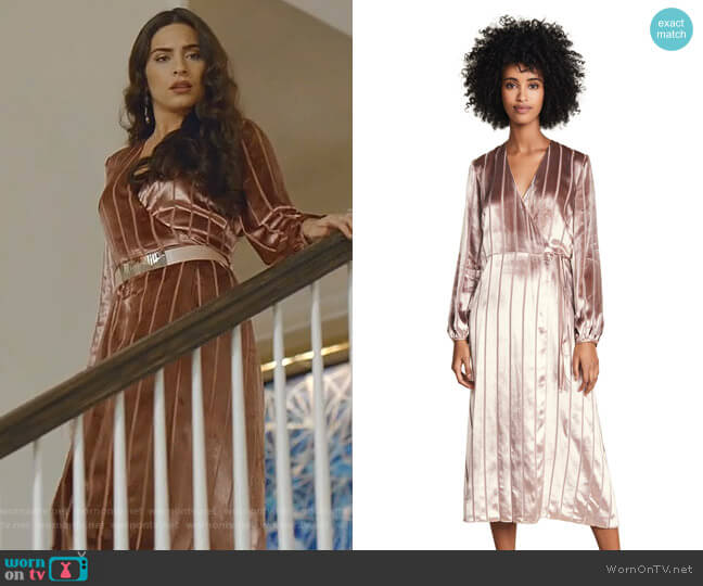 Long Sleeve Wrap Velvet Dress by Michelle Mason worn by Cristal Jennings (Daniella Alonso) on Dynasty