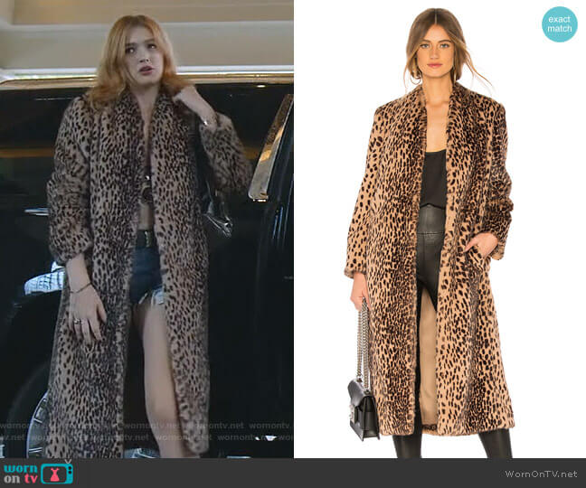 Faux Fur Coat by Michelle Mason worn by Kirby Anders (Maddison Brown) on Dynasty