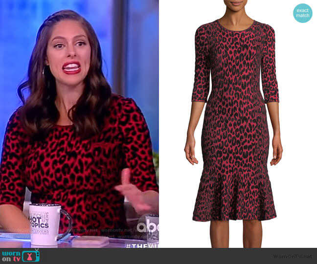 Textured Leopard Animal-Print Mermaid Midi Dress by Milly worn by Abby Huntsman  on The View