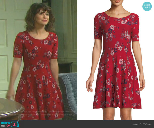Twilight Floral-Print Fit-and-Flare Dress by Milly worn by Sarah Horton (Linsey Godfrey) on Days of our Lives