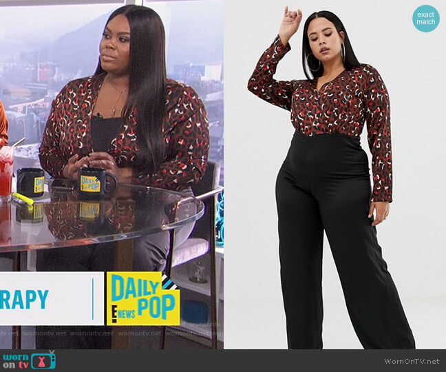 Wide Leg Jumpsuit in Leopard Print by Missguided worn by Nina Parker  on E! News
