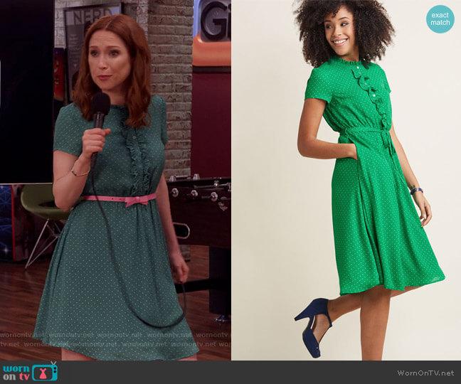 Asking for Ruffle Shirt Dress by Modcloth worn by Kimmy Schmidt (Ellie Kemper) on Unbreakable Kimmy Schmidt