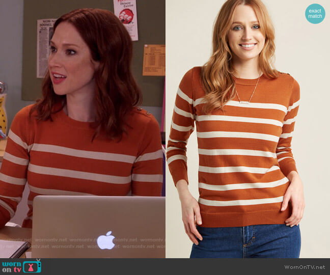 Charter School Pullover Sweater in Striped Orange by Modcloth worn by Kimmy Schmidt (Ellie Kemper) on Unbreakable Kimmy Schmidt