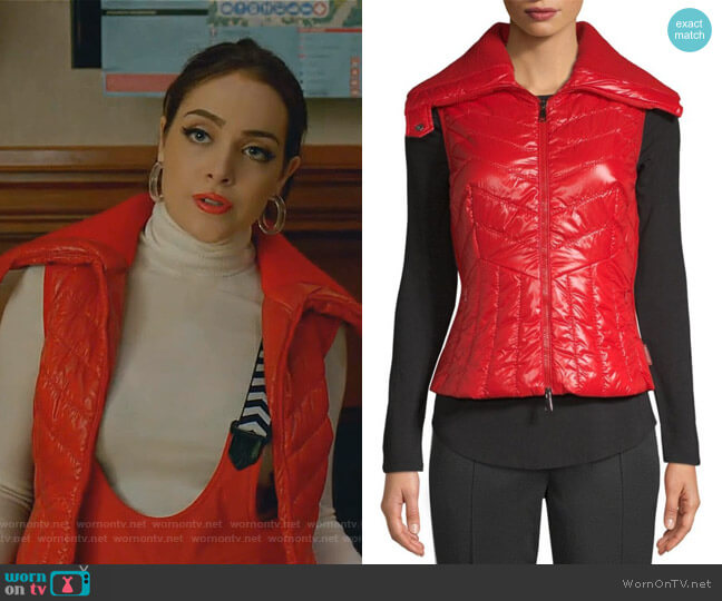 Tricot Lacquer Mixed Media Vest by Moncler worn by Fallon Carrington (Elizabeth Gillies) on Dynasty