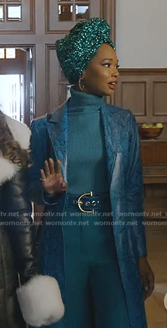 Monica's blue snake print coat on Dynasty