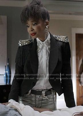 Monica's lace mini dress with yellow wrap waist tie on Dynasty