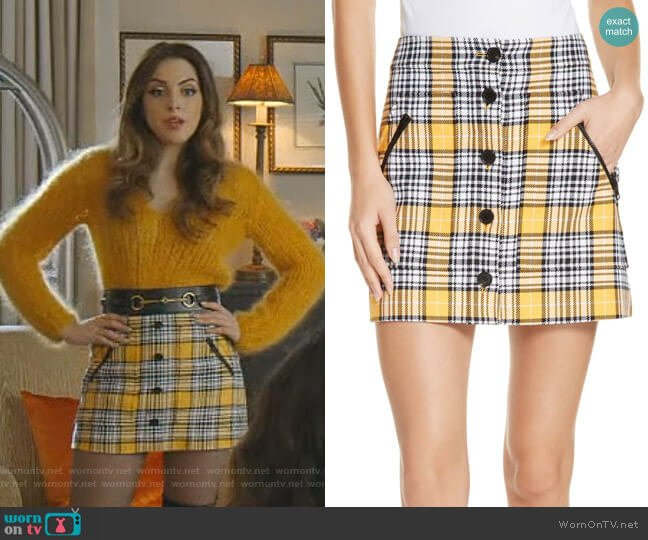 Monroe Plaid Miniskirt by Veronica Beard worn by Fallon Carrington (Elizabeth Gillies) on Dynasty
